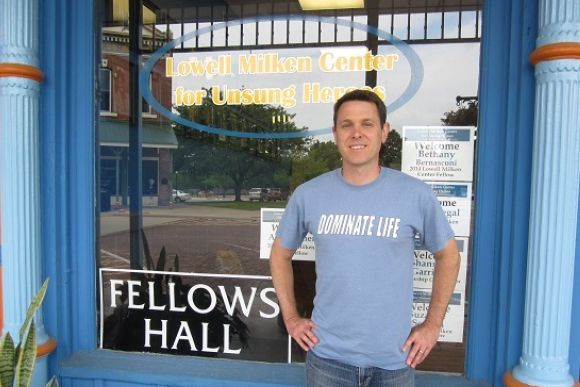 "Brian Langley sports a ""Dominate Life"" T-shirt, made popular by his students."