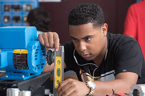 Capital Area Career Center engineering program student using STEAM skills.